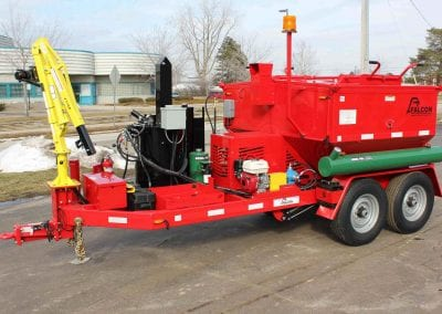 Hoist with 12-volt winch on Falcon hot mix heater trailer 4
