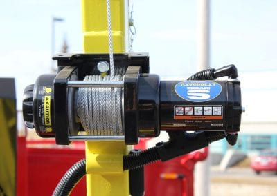Hoist with 12-volt winch on Falcon hot mix heater trailer 5